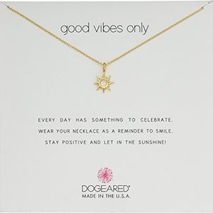 14K Gold Plated over Silver Good Vibes Sun Necklac